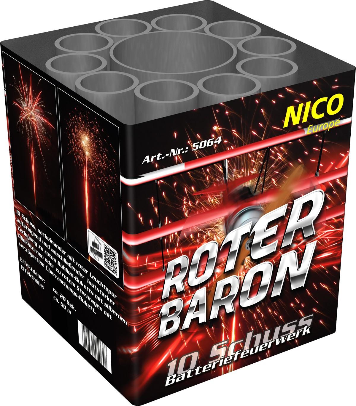 Batteriefeuerwerk Roter Baron 10 Schuss