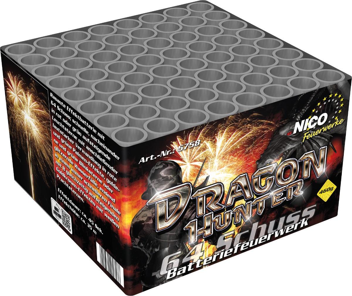 Batteriefeuerwerk Dragon Hunter 64 Schuss
