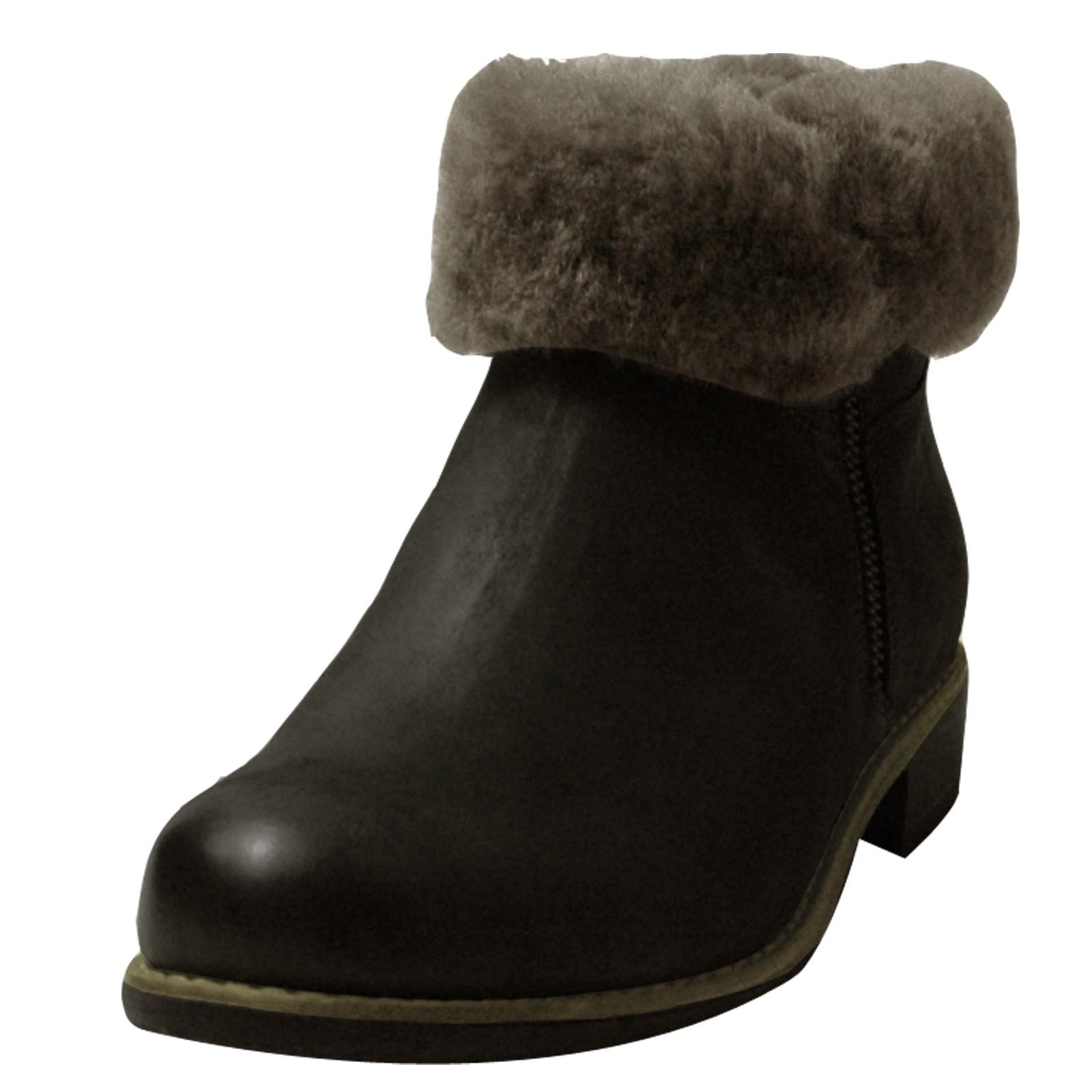 Caprice Damen - Kurzschaft Stiefel, grau mit Lammfellfutter