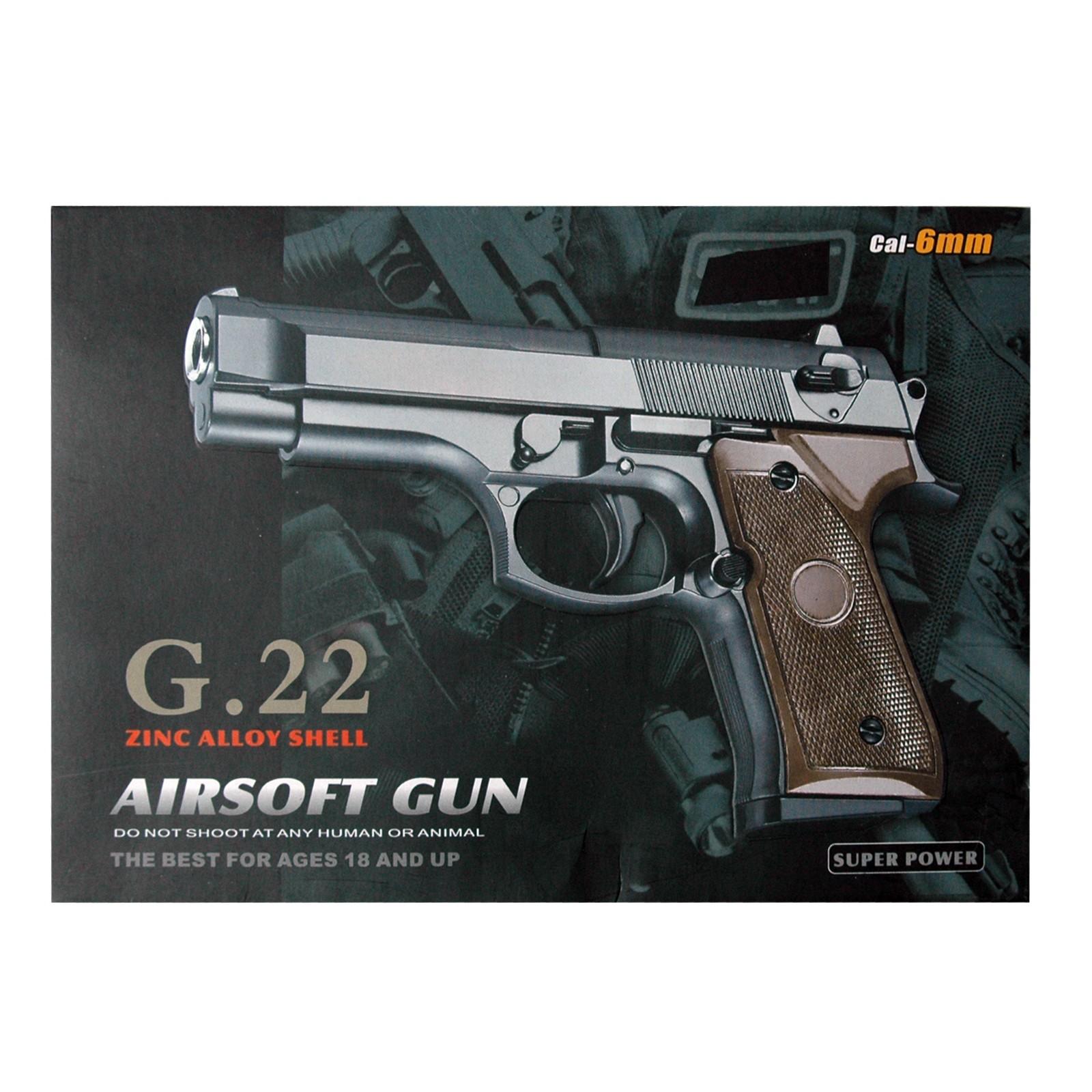 Softair Pistole G22, aus Metall, Kaliber 6mm, Federdruck