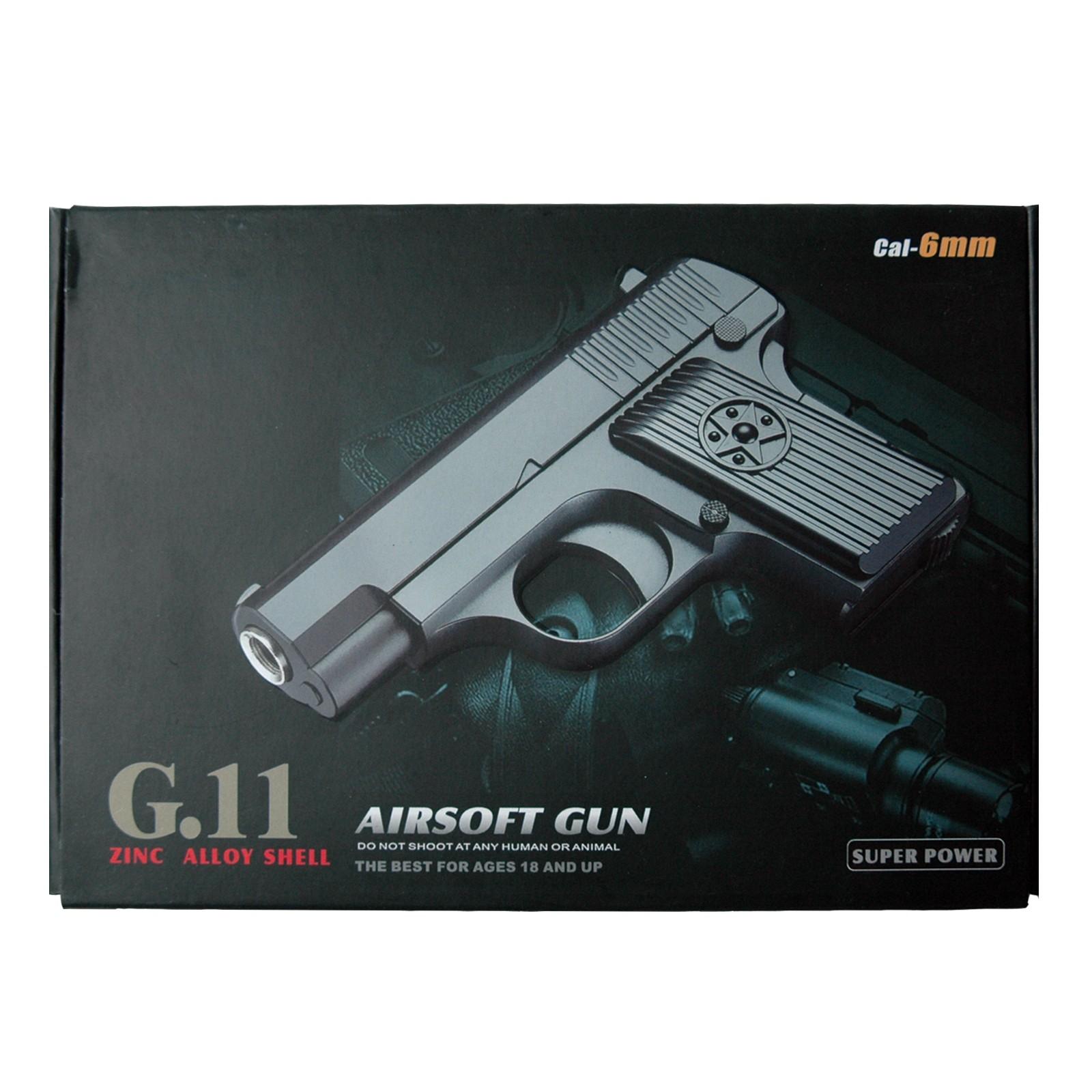 G11 Softair Pistole aus Metall, 7er Magazin Inklusive Munition