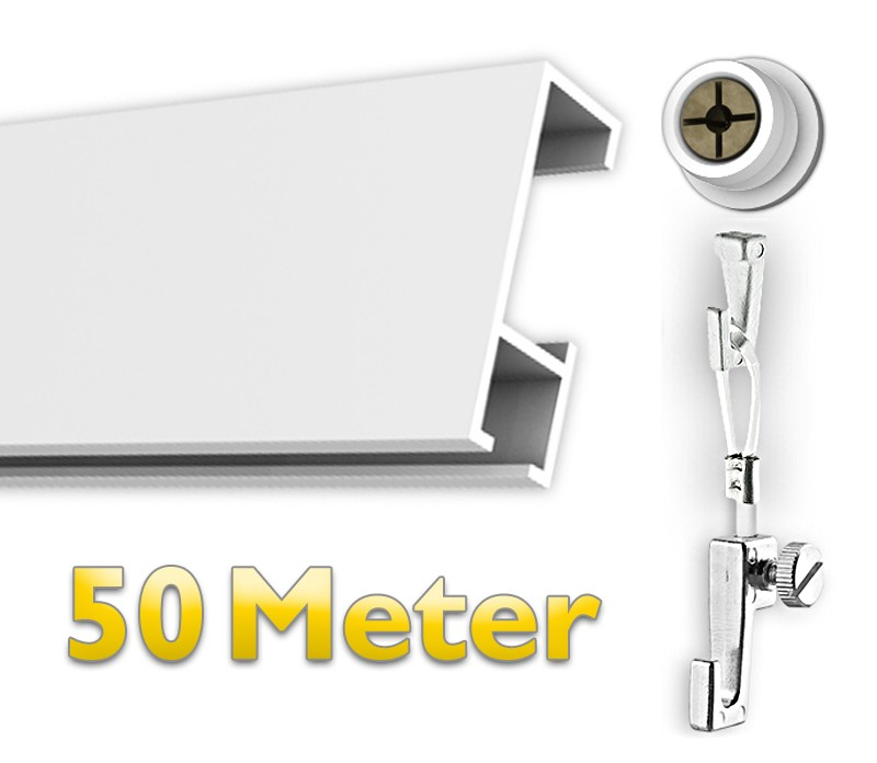 Galerieschiene 50 m, Komplettset Öse mit Zubehör in weiß