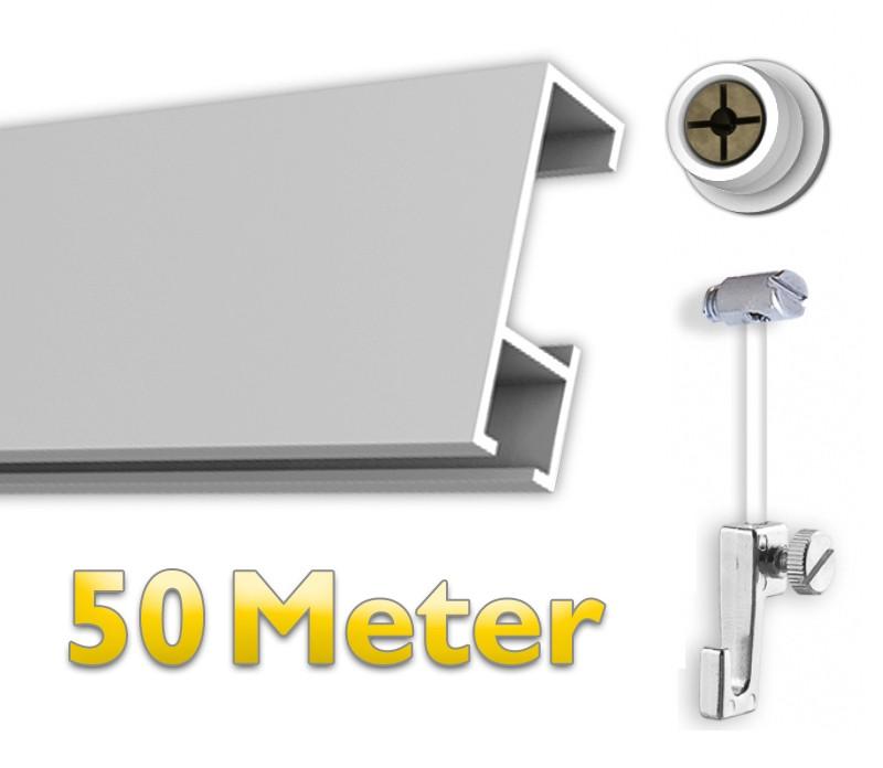 Bilderschienen Set 50 m mit Gleiter, Galerieschienen Set in weiß, Aufhängesystem für Bilder inkl. Zubehör