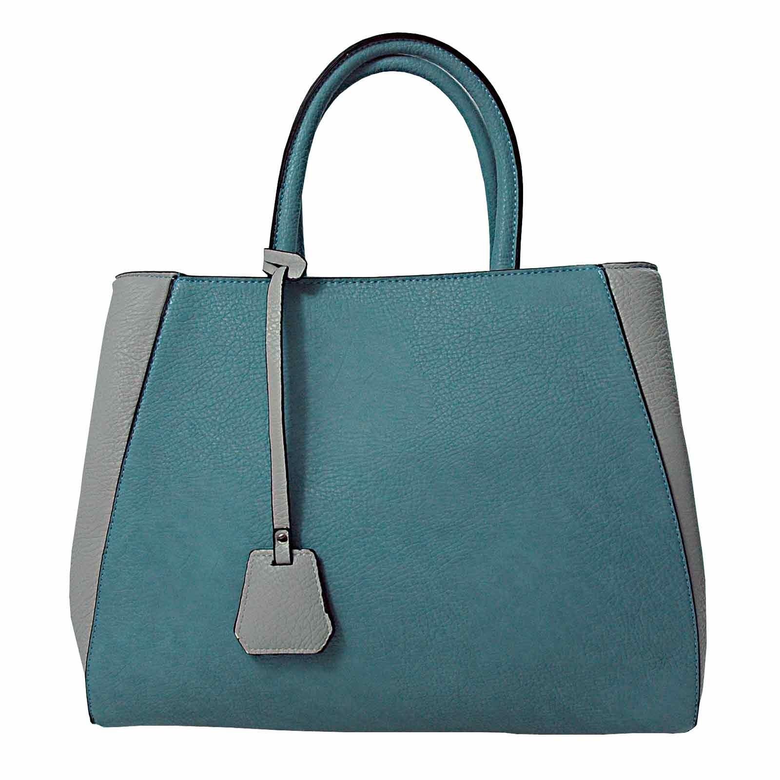 A-Zone Damentasche hellgrau-taubenblau mit Ledernarbung