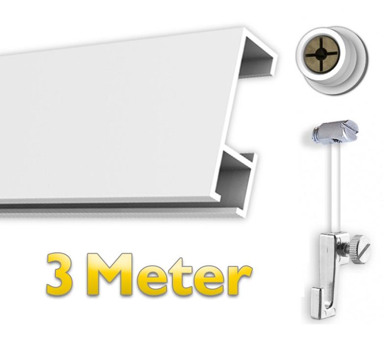 Bilderschienen Set 3 m mit Gleiter in weiß, das Aufhänge System inkl. Zubehör