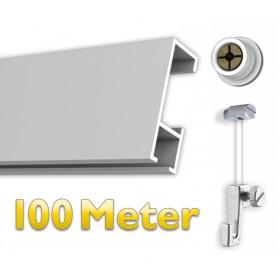 Bilderschienen Set 100 m mit Gleiter, Galerieschienen Set in weiß, Aufhängesystem für Bilder inkl. Zubehör