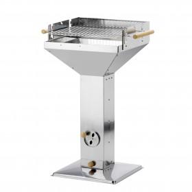 Edelstahl Trichtergrill 46x46 cm höhenverstellbar mit Kaminzugeffekt
