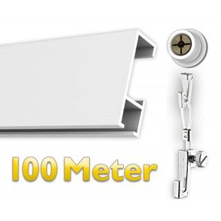 Galerieschiene 100 m, Komplettset Öse mit Zubehör in weiß