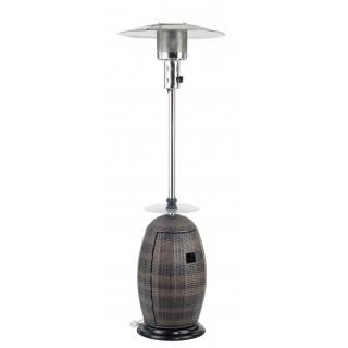 Terrassenheizer Rattan 8,3Kw fahrbar, Abschaltautomatik, Glas Ablage