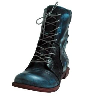 Damen Schnür-Stiefeletten, blau metalic weite G Veloursleder