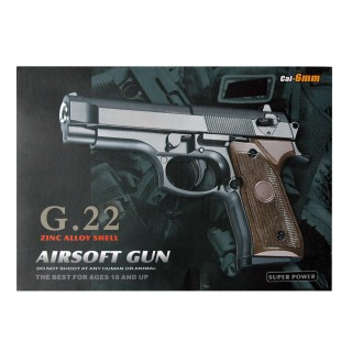 Softair Pistole G22, aus Metall, Kaliber 6mm, Federdruck